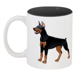 "Кружка цветная внутри ""Доберман"" - пёс, собака, доберман, год собаки, 2018"