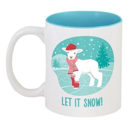 """Кружка цветная внутри """"Let it snow!"""" - новый год, зима, снег, подарок, рождество, овца, год овцы, 2015, snow, new year"""