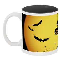 """Кружка цветная внутри """"Ночь святых"""" - праздник, хэллоуин, интересная, тыква, необычная"""