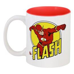 "Кружка цветная внутри ""Флэш "" - flash, комиксы, супергерои, флэш"