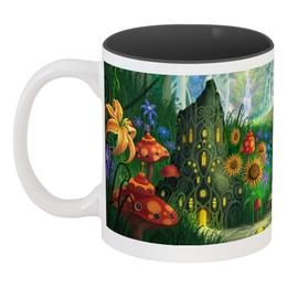 """Кружка цветная внутри """"мир фэнтези"""" - стиль, грибы, замок, сказочный лес, лесенка"""