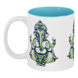 """Кружка цветная внутри """"Shiva"""" - слон, корона, человек, шива, буддизм"""