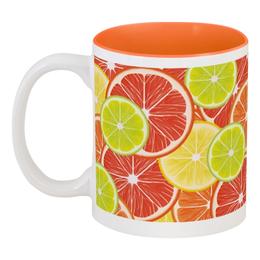 """Кружка цветная внутри """"Цитрусы"""" - апельсин, лайм, лимон, грейпфрут, дольки"""