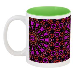 """Кружка цветная внутри """"purple"""" - арт, узор, фиолетовый, абстракция, фигуры"""