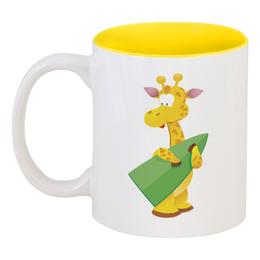 """Кружка цветная внутри """"Жираф"""" - жираф, животное"""