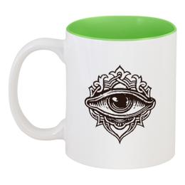 """Кружка цветная внутри """"Всевидящее око"""" - глаз, всевидящее око, око"""