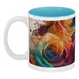 """Кружка цветная внутри """"Разноцветные розы"""" - цветы, рисунок, акварель, розы, букет"""