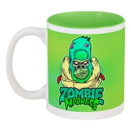 "Кружка цветная внутри ""Zombie Madness"" - арт, zombie, зомби, обезьяна, горилла"