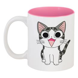"""Кружка цветная внутри """"Милый котёнок"""" - кот, кошка, котик, котёнок"""