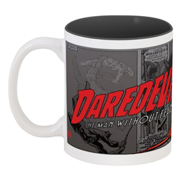 "Кружка цветная внутри ""Marvel Daredevil"" - комикс, супергерой, marvel, daredevil, сорвиголова"