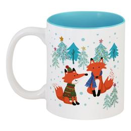 """Кружка цветная внутри """"Новогодние лисы в зимнем лесу"""" - новый год, fox, зимний лес, новогодние лисы, лиса в свитере"""