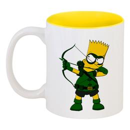 """Кружка цветная внутри """"Барт Симпсон"""" - симпсоны, the simpsons, барт"""