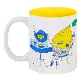 """Кружка цветная внутри """"Чай с лимоном"""" - юмор, дом, семья, сладости, растения, чай, tea, уют, чайник, лимон"""