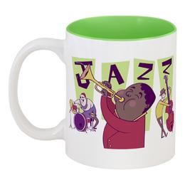 """Кружка цветная внутри """"Джаз."""" - музыка, джаз"""