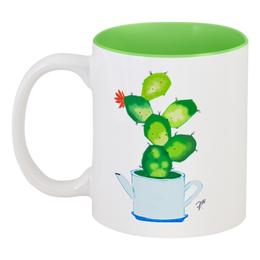 """Кружка цветная внутри """"Эко-стиль"""" - цветы, эко, чайник, кактус, кухня"""