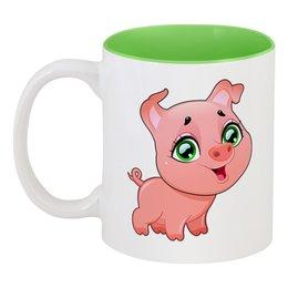 """Кружка цветная внутри """"Поросёнок (Свинья)"""" - новый год, свинья, 2019, свин, год свиньи"""