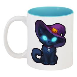"""Кружка цветная внутри """"ведьмин кот"""" - кот, ведьма, cat, witch, хеллоуин"""