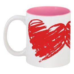 """Кружка цветная внутри """"Влюбленные сердца"""" - любовь, сердца, 14 февраля, ко дню влюбленных, valentine's day"""