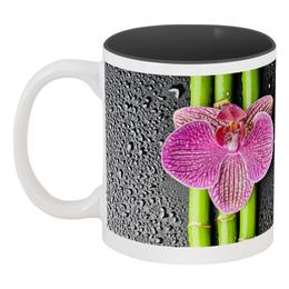 """Кружка цветная внутри """"Черные капли Коллеге"""" - цветы, 8 марта, работа, подарок, орхидея"""