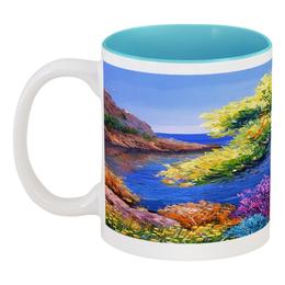 """Кружка цветная внутри """"берег моря"""" - море, горы, берег"""