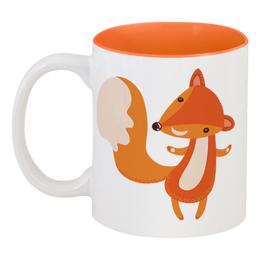 """Кружка цветная внутри """"Лисичка"""" - животные, лиса, лисичка"""