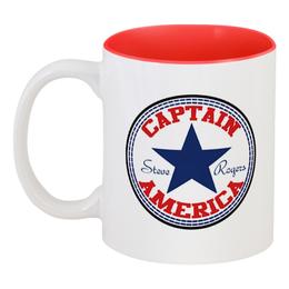 "Кружка цветная внутри ""Капитан Америка"" - марвел, капитан америка, captain america"