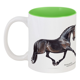"""Кружка цветная внутри """"DRESSAGE LIFESTYLE"""" - лошадь, конь, выездка"""