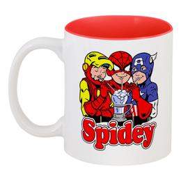 """Кружка цветная внутри """"Spidey"""" - человек паук, железный человек, капитан америка"""