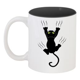 """Кружка цветная внутри """"Прикольный кот"""" - кот, приколы, животные, котенок"""