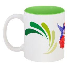 """Кружка цветная внутри """"Колибри и Лилии"""" - подарок, стильно, напитки, колибри, лилии"""
