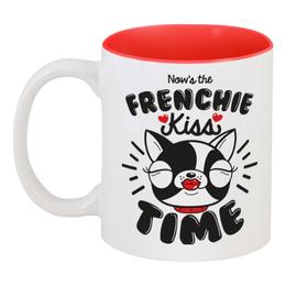 """Кружка цветная внутри """"Французский бульдог"""" - собака, сердечки, бульдог, 2018, год собаки"""