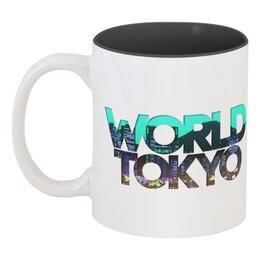 """Кружка цветная внутри """"""""DIFFERENT WORLD"""":"""" - мир, города, world, токио, tokyo"""