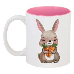 """Кружка цветная внутри """"Кролик"""" - заяц, кролик, морковка"""