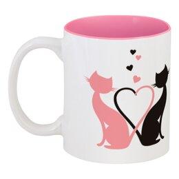 """Кружка цветная внутри """"Мартовские коты"""" - сердце, любовь, котики"""