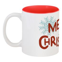 """Кружка цветная внутри """"Merry Christmas"""" - арт, новый год, снег, снежинки, merry christmas"""