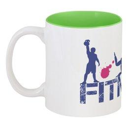 """Кружка цветная внутри """"Фитнес"""" - бег, спорт, фитнес, тренировка, кроссфит"""