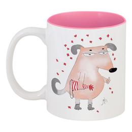"""Кружка цветная внутри """"Бледная собака"""" - собака, новый год, праздник, прикол"""
