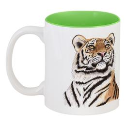 """Кружка цветная внутри """"Взгляд тигра"""" - хищник, животные, взгляд, тигр, зверь"""