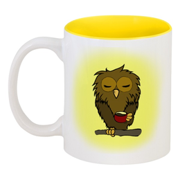 """Кружка цветная внутри """"Сонная сова пьёт свой утренний кофе"""" - утро, сова, кофе, сонный, понедельник"""