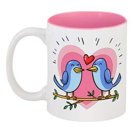 """Кружка цветная внутри """"Влюблённые птички"""" - любовь, сердца, день святого валентина, птица, пара"""
