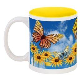 """Кружка цветная внутри """"Подсолнух (1)"""" - бабочки, цветы, природа, подсолнух"""