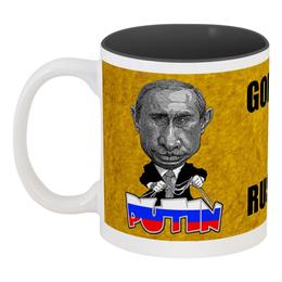 "Кружка цветная внутри ""Putin"" - россия, russia, путин, президент, putin"