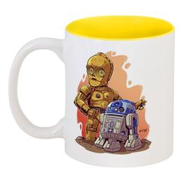 """Кружка цветная внутри """"Звездные Войны: C3PO и R2D2"""" - star wars, звездные войны, c3po, r2d2, дроиды"""