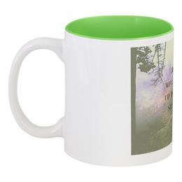 "Кружка цветная внутри ""Стиль арт-фэшн ""pine forest"""" - надписи, лес, природа, фэнтази, author's photo"