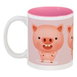 """Кружка цветная внутри """"Поросята"""" - новый год, свинья, 2019, поросёнок, год свиньи"""