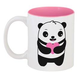"""Кружка цветная внутри """"Панда"""" - сердце, медвежонок, медведь, мишка"""