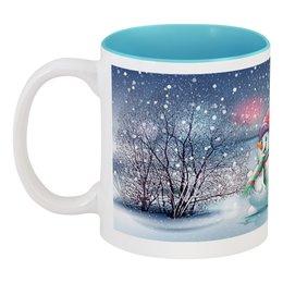 """Кружка цветная внутри """"Снеговик"""" - новый год, снеговик, 2019"""