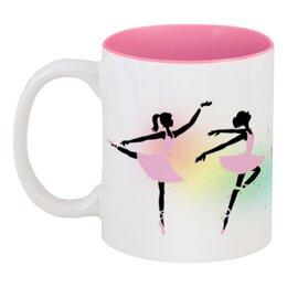 """Кружка цветная внутри """"Балерины"""" - девушки, балет, балерины"""