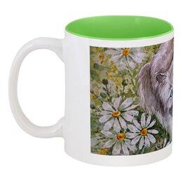 """Кружка цветная внутри """"Ромашковый кот """" - кот, цветы, рисунок, ромашки, кот в ромашках"""