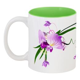 "Кружка цветная внутри ""Диана"" - арт, цветы, 8 марта, орхидея, 8мар"